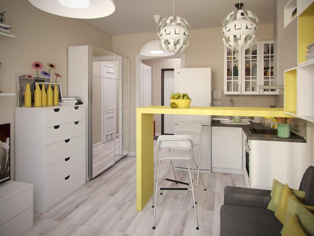 Желтая барная стойка простой конструкции