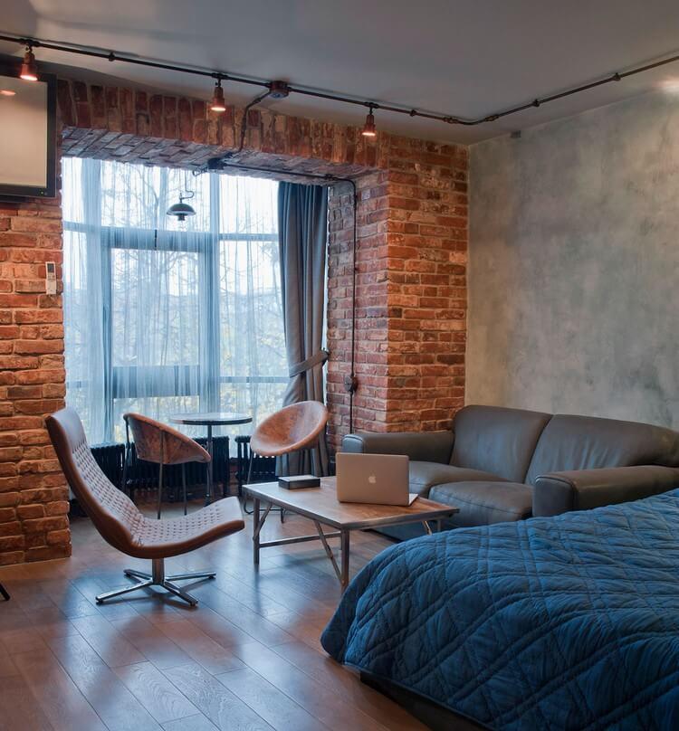 спальня гостиная лофт