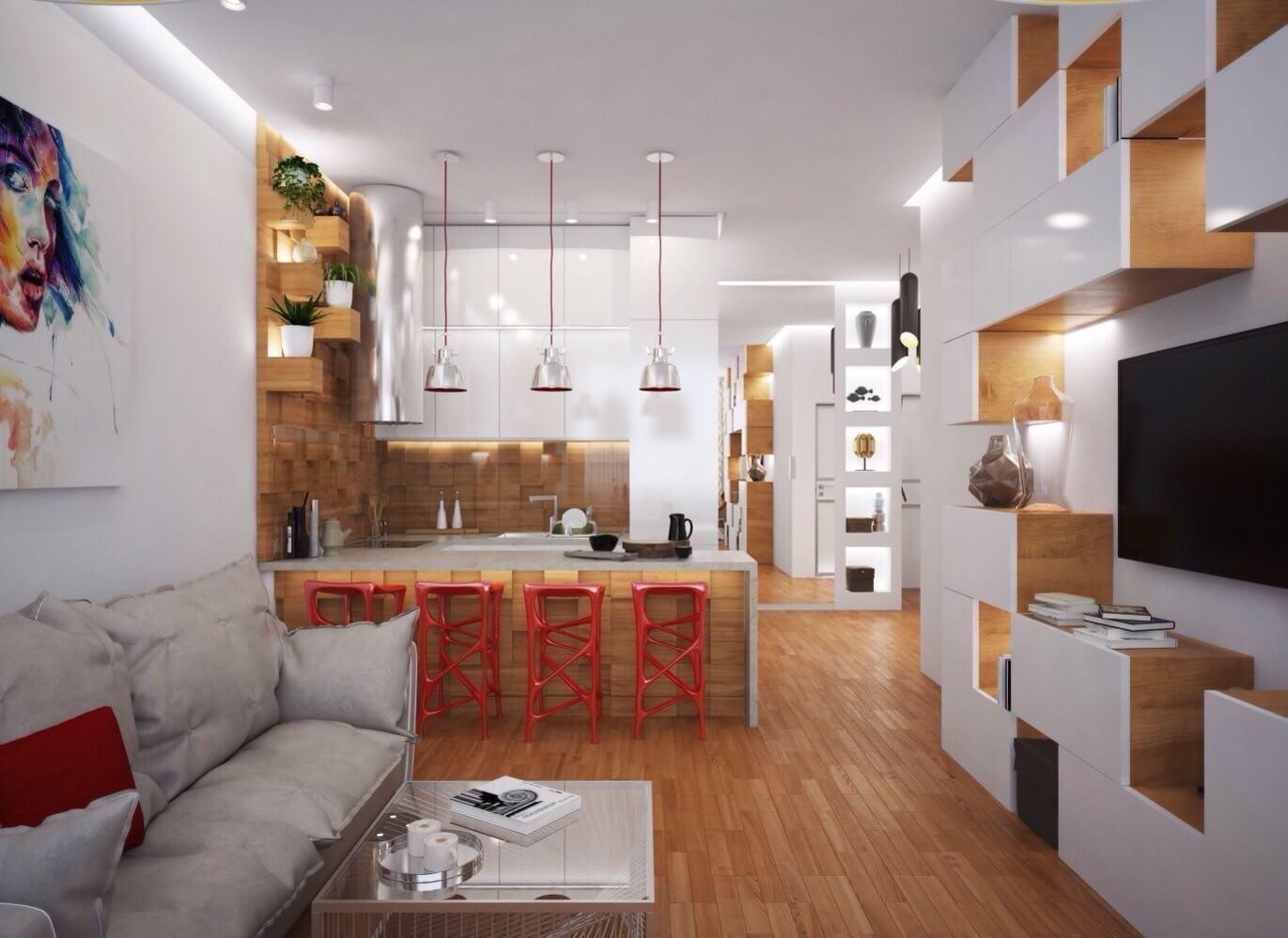 эко дизайн в квартире распашонке