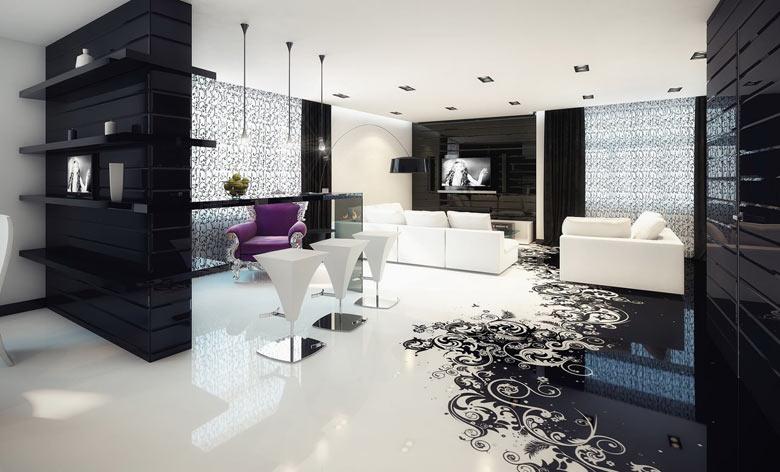 наливные полы в современной гостиной