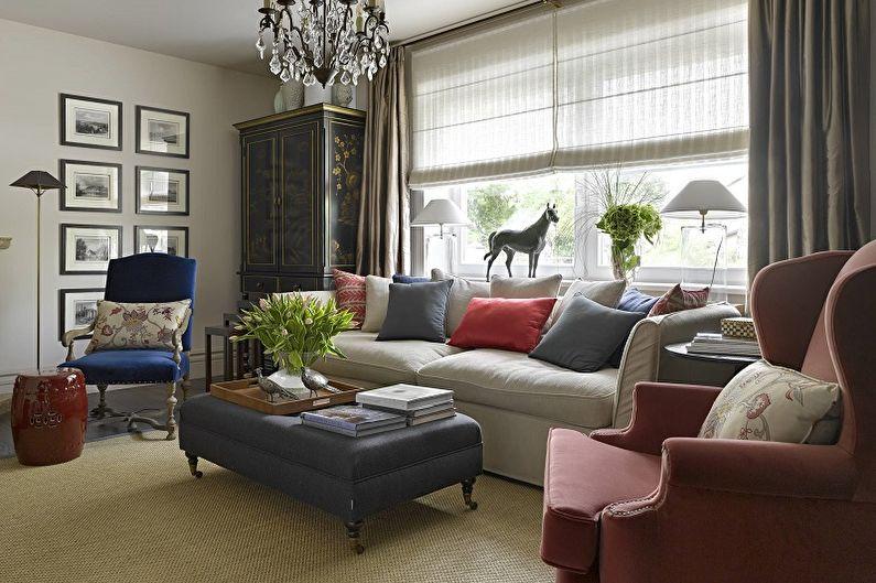 Зона отдыха с мягкой мебелью в гостиной частного дома