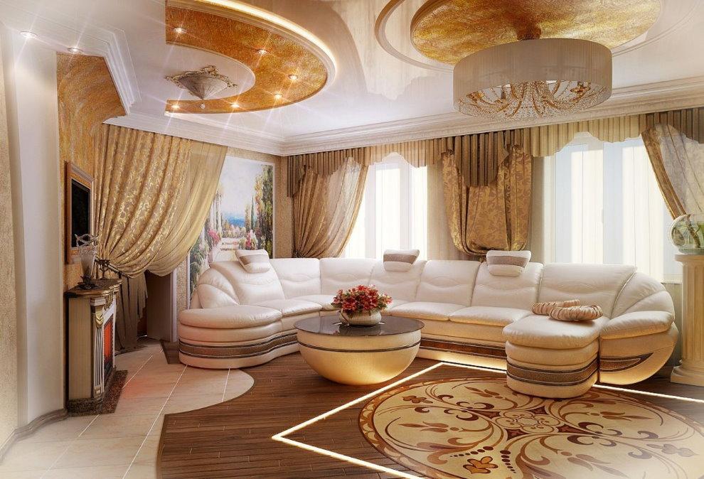 Большой диван в гостиной стиля ампир