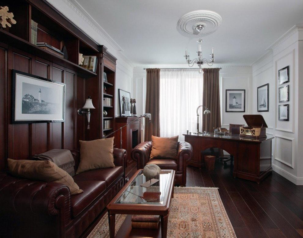 Гостиная квартиры в английском стиле
