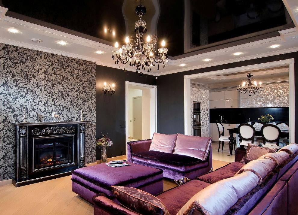 Черный потолок в гостиной стиля арт деко