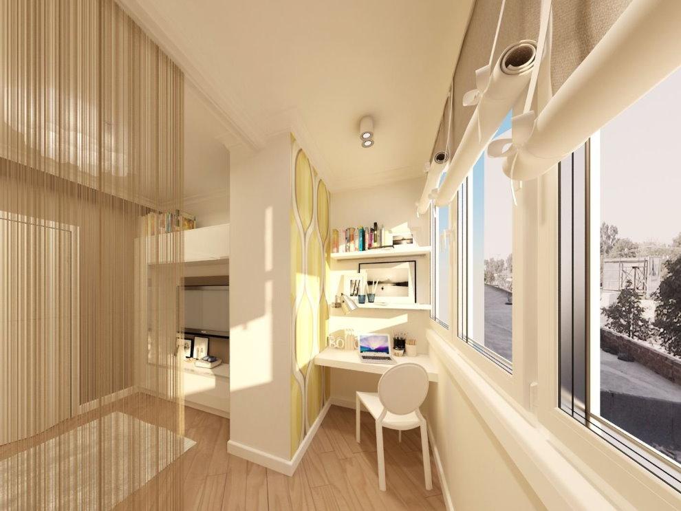 Рабочий кабинет на балконе гостиной