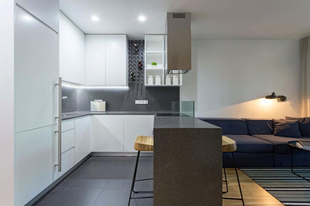Зонирование кухни гостиной с помощью барной стойки