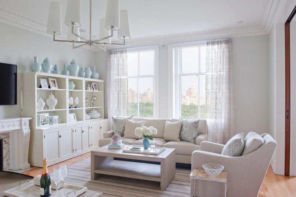 Белая гостиная в стиле прованса