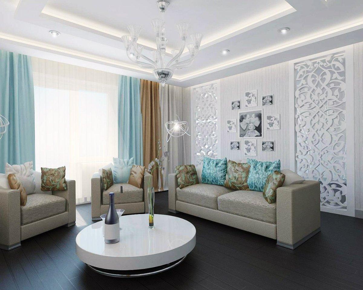 бело голубая гостиная фото