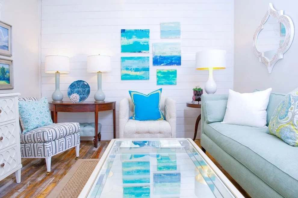 бело голубая гостиная идеи