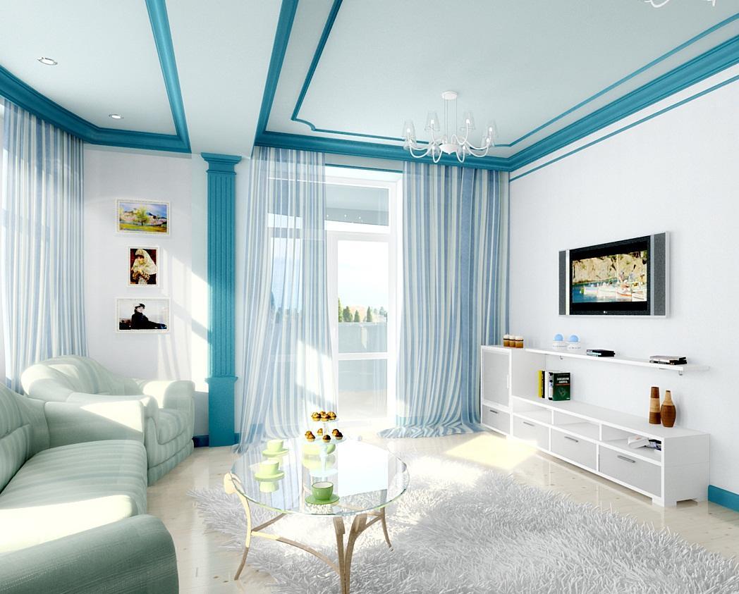 бело голубая гостиная