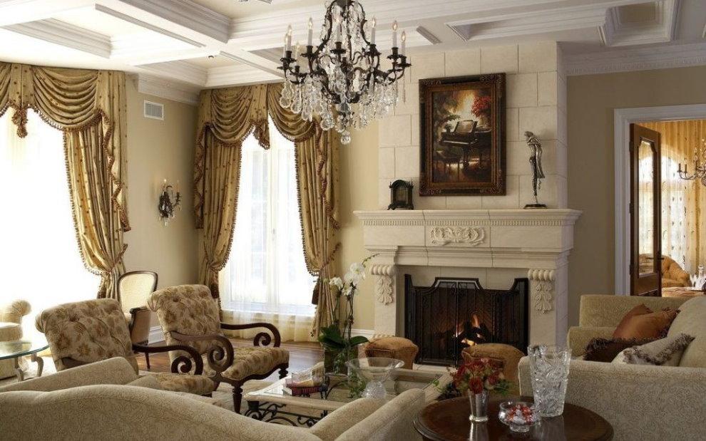 Бежевые стены гостиной в классическом стиле
