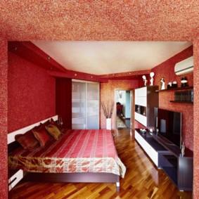 бордовые жидкие обои для интерьера комнаты