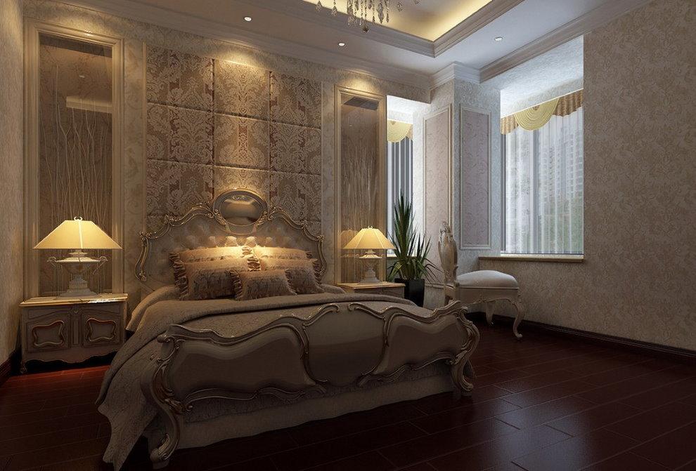 Ночная подсветка в интерьере классической спальне