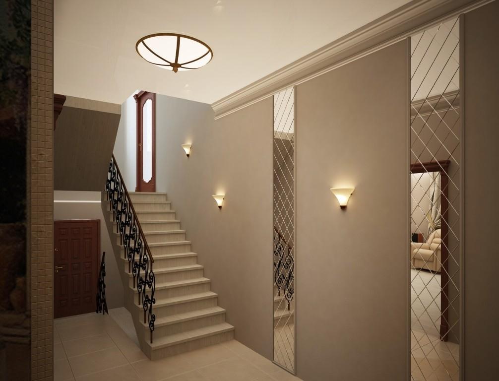 бра в коридоре с лестницей