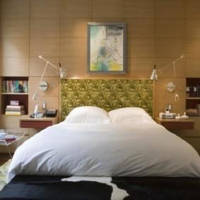 бра в спальне над кроватью оформление фото