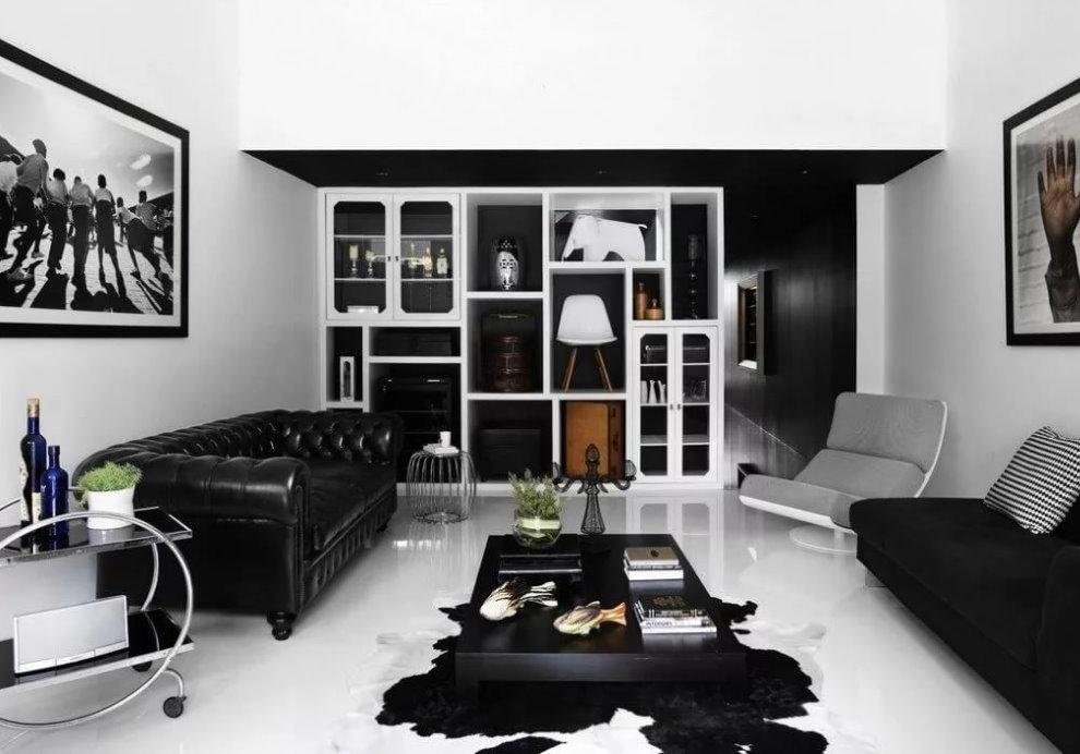 Контрастное оформление современной гостиной
