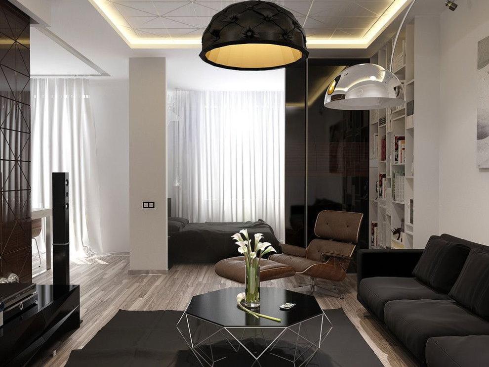 Черная мебель в однушке площадью 36 кв метров