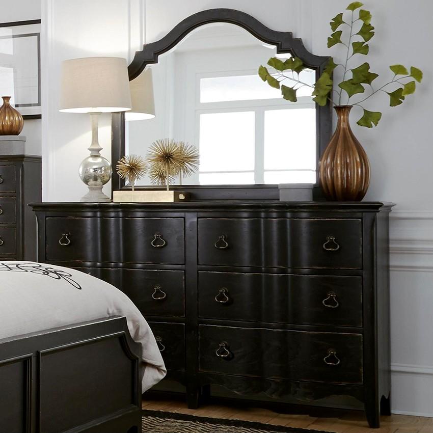 черный комод с зеркалом в спальню