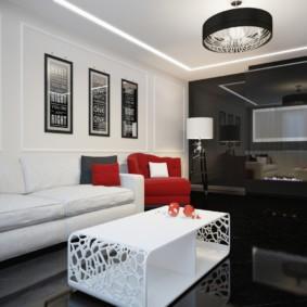Интерьер гостиной в черном и белом цветах
