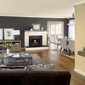 Зонирование комнаты с помощью цвета стен