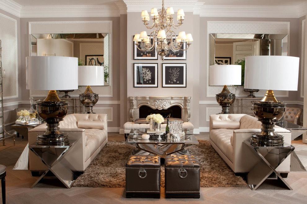 Два дивана в большой гостиной стиля неоклассика