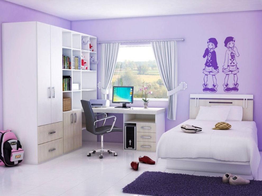 Сиреневая детская комната в двушке панельного дома