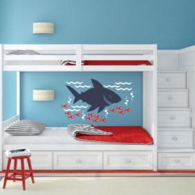 детская комната для троих детей интерьер фото