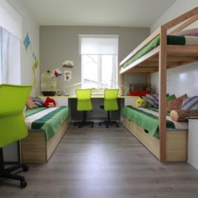детская комната для троих детей оформление фото