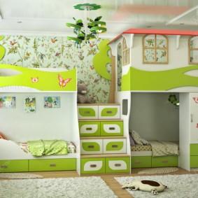 детская комната для троих детей фото оформление