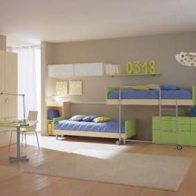 детская комната для троих детей оформление идеи
