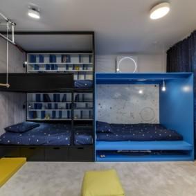 детская комната для троих детей фото варианты