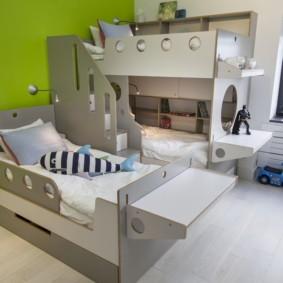 детская комната для троих детей виды