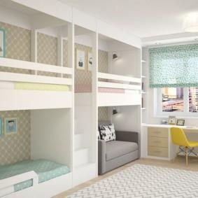 детская комната для троих детей фото виды