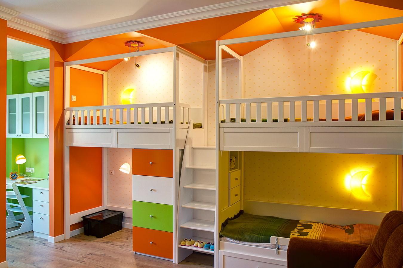 детская комната для троих детей фото дизайна