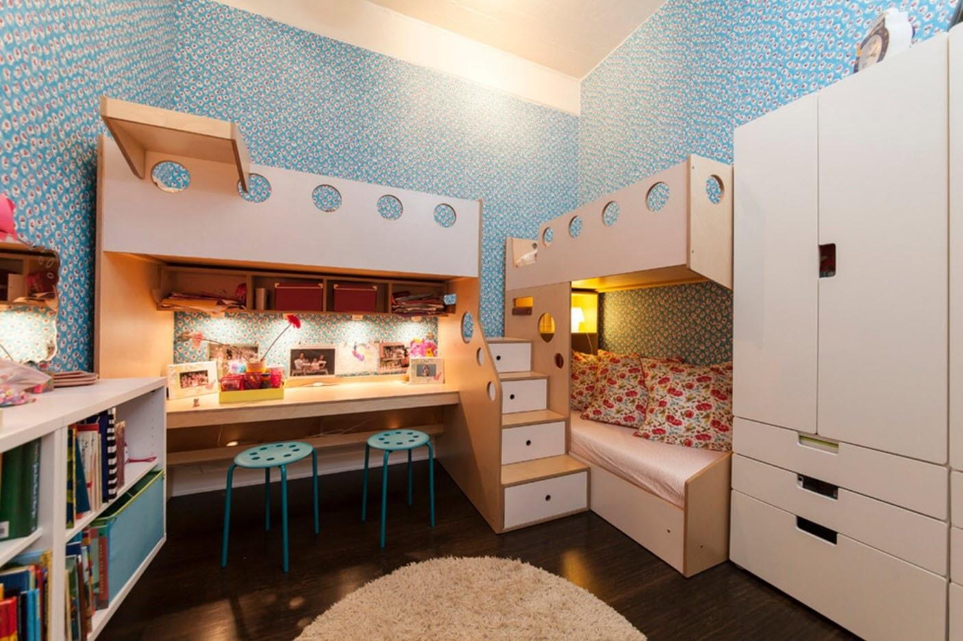 детская комната для троих детей фото идеи