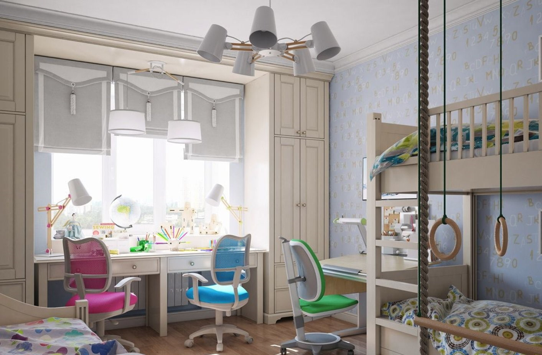 детская комната для троих детей идеи дизайн