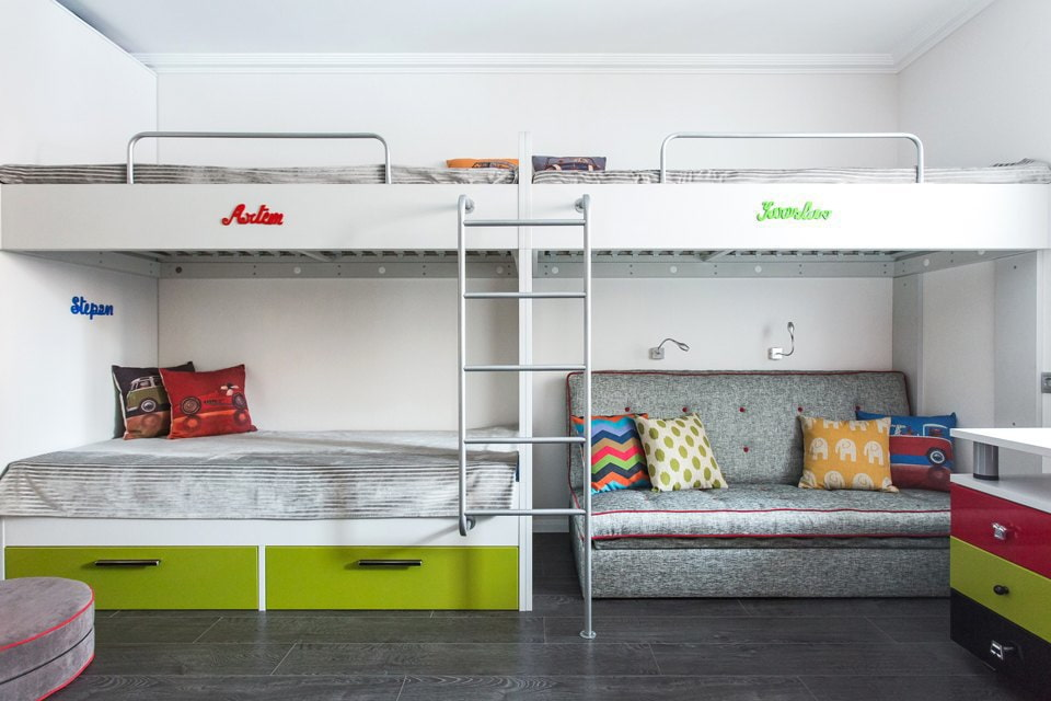 детская комната для троих детей интерьер