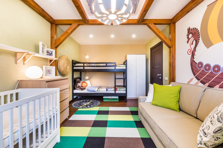 детская комната для троих детей освещение