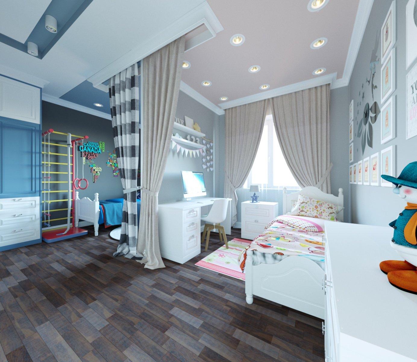 детская комната для разнополых детей варианты
