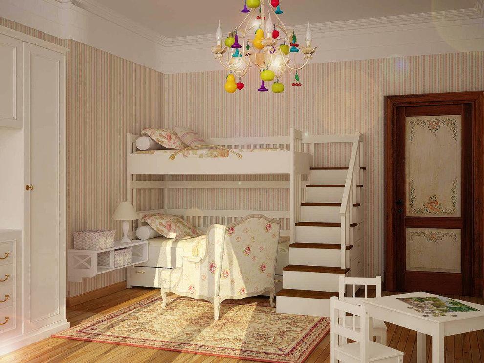 Двухспальная кровать в детской деревенского стиля