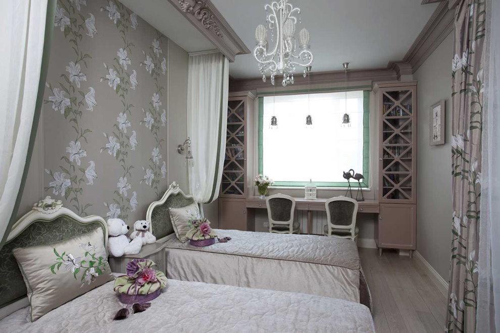 Детская комната в стиле классика для дочек школьного возраста