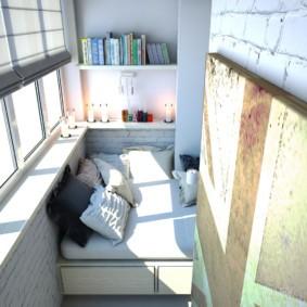 диван на балкон фото видов