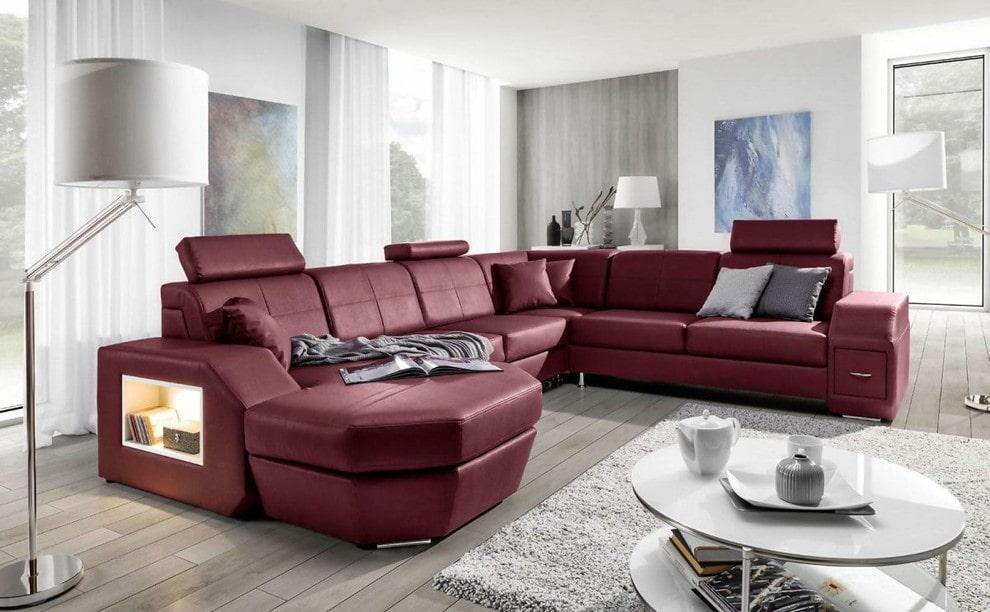 Кожаный угловой диван с баром
