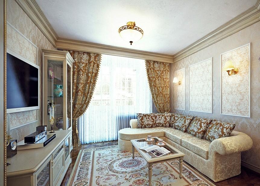 Гостиная в стиле классика с угловым диваном
