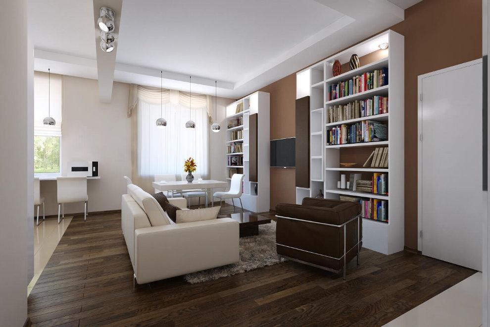Гостиная комната в квартире после перепланировки