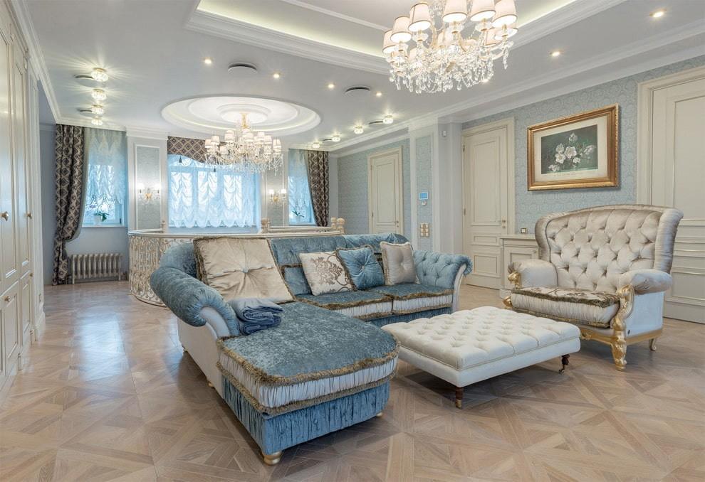 угловой диван в гостиной классика