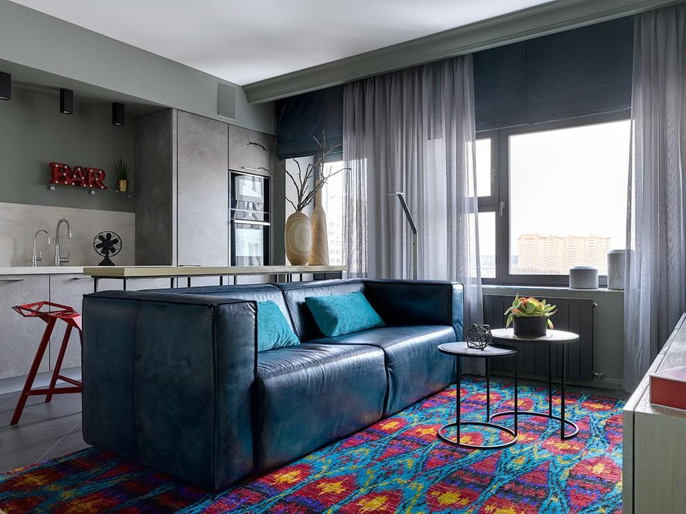 диван в гостиную синий