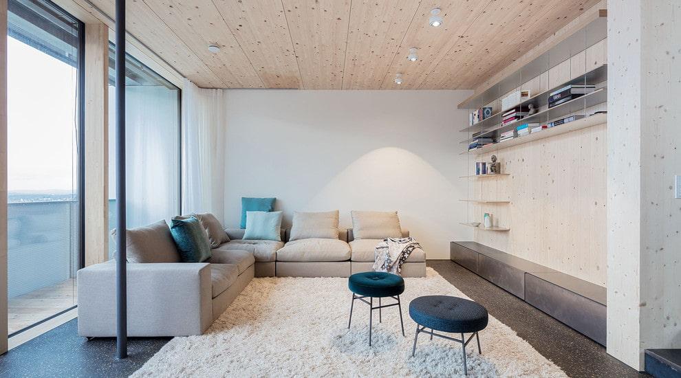 угловой диван в гостиной скандинавский стиль