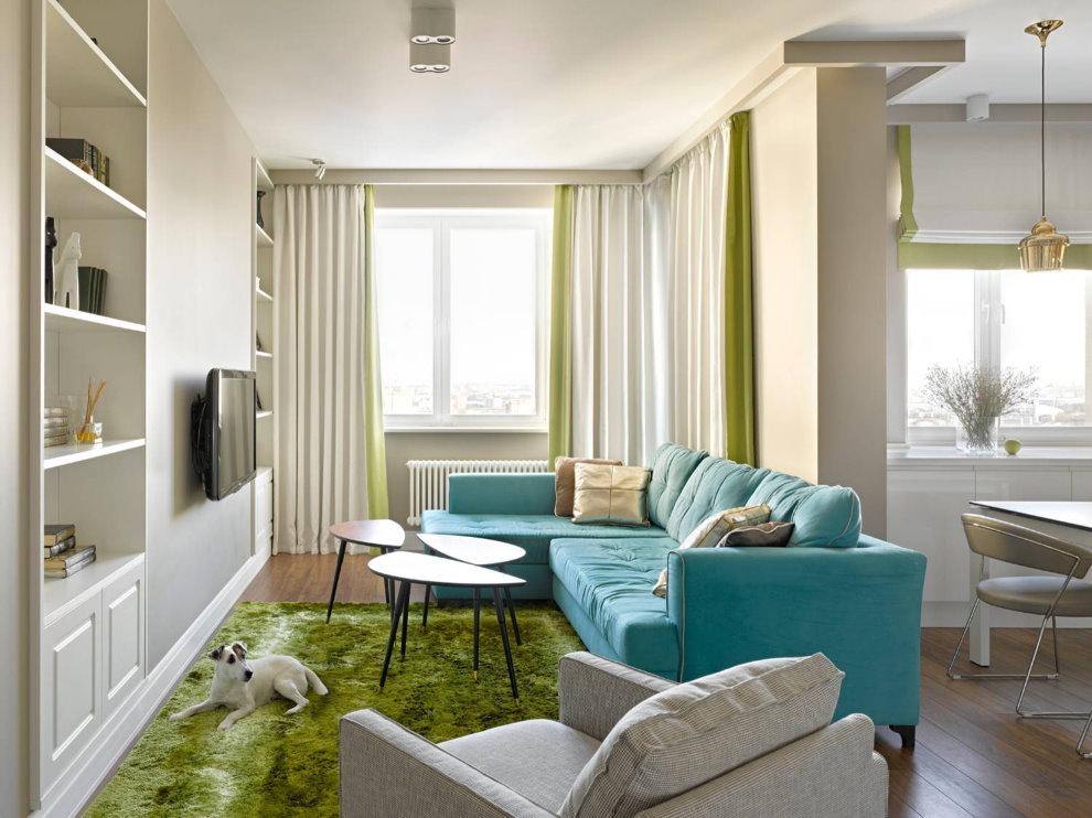 Диван в качестве разделителя пространства квартиры-студии