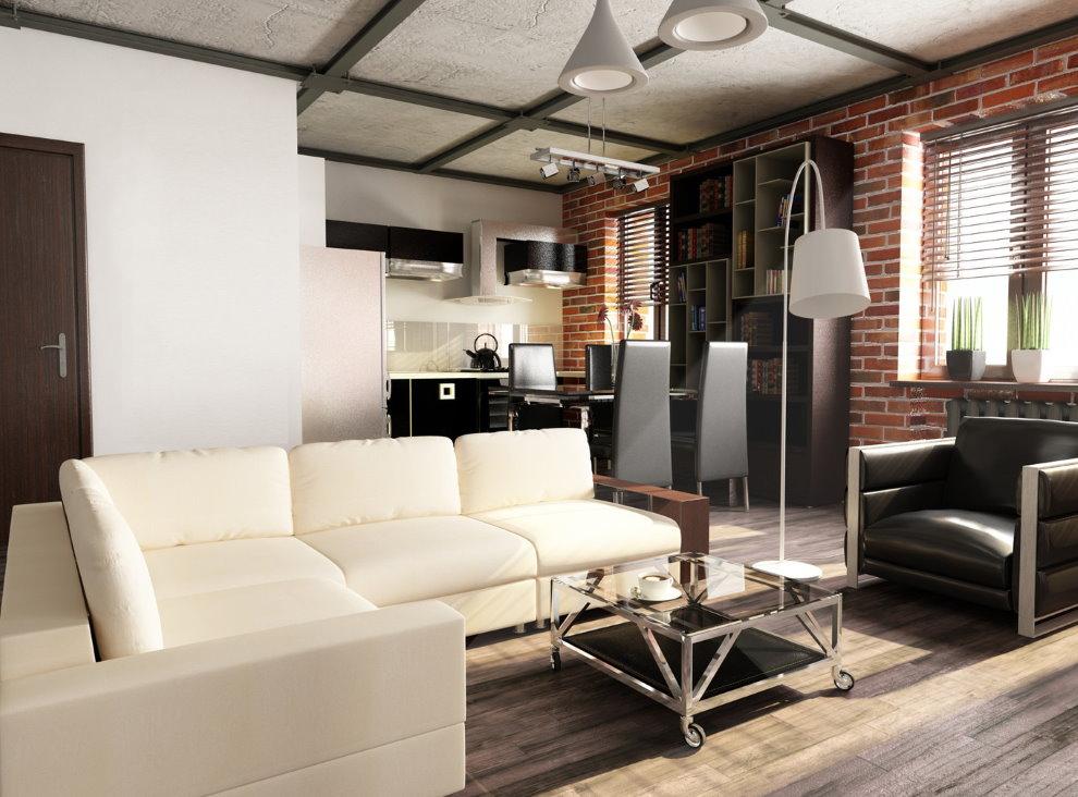 Дизайн однокомнатной квартиры в индустриальном стиле